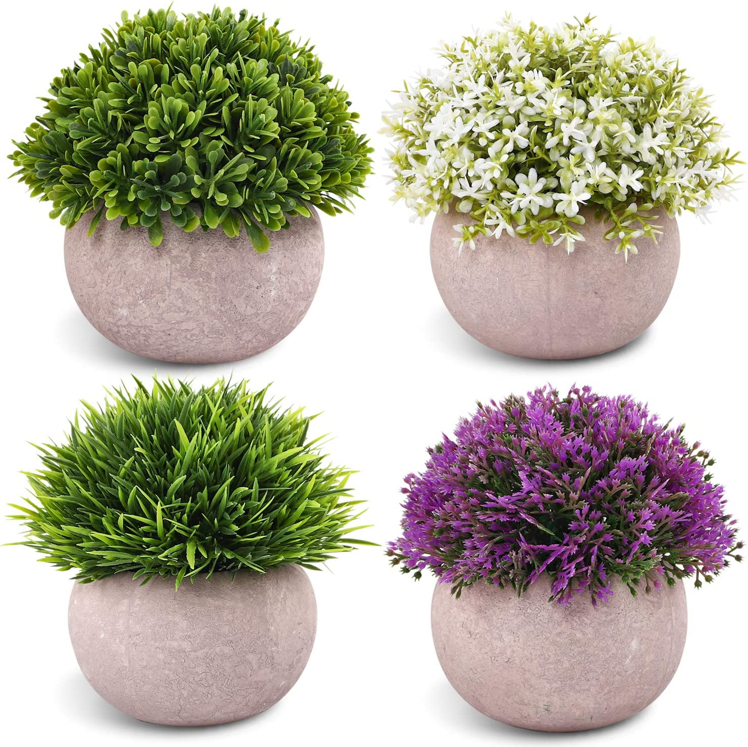 CEWOR 4 Packs Artificial Mini Potted Plants Plastic Faux Topiary Shrubs Fake Plants for Room Office Desk Decoration -