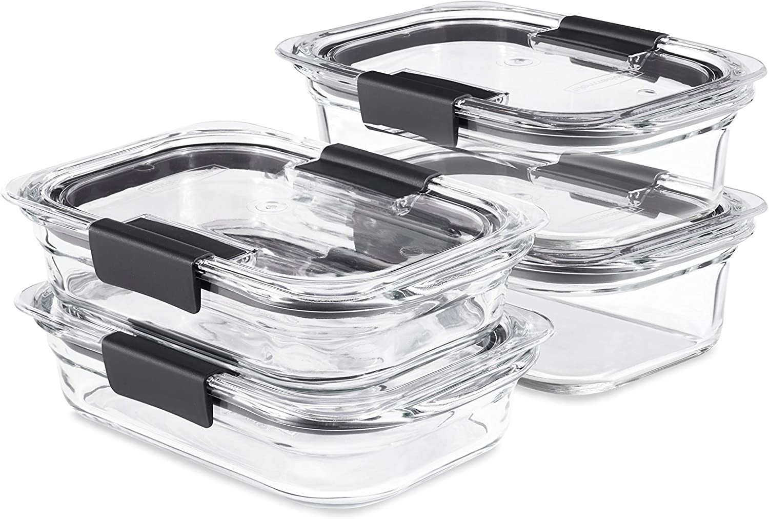 Rubbermaid Brilliance Glass Storage Set of 4 Food Containers with Lids (8 Pieces Total), BPA Free and Leak Proof, Medium, Clear