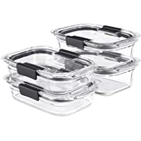 Rubbermaid Brilliance Glass Storage Set of 4 Food Containers with Lids (8 Pieces Total), BPA Free and Leak Proof, Medium…