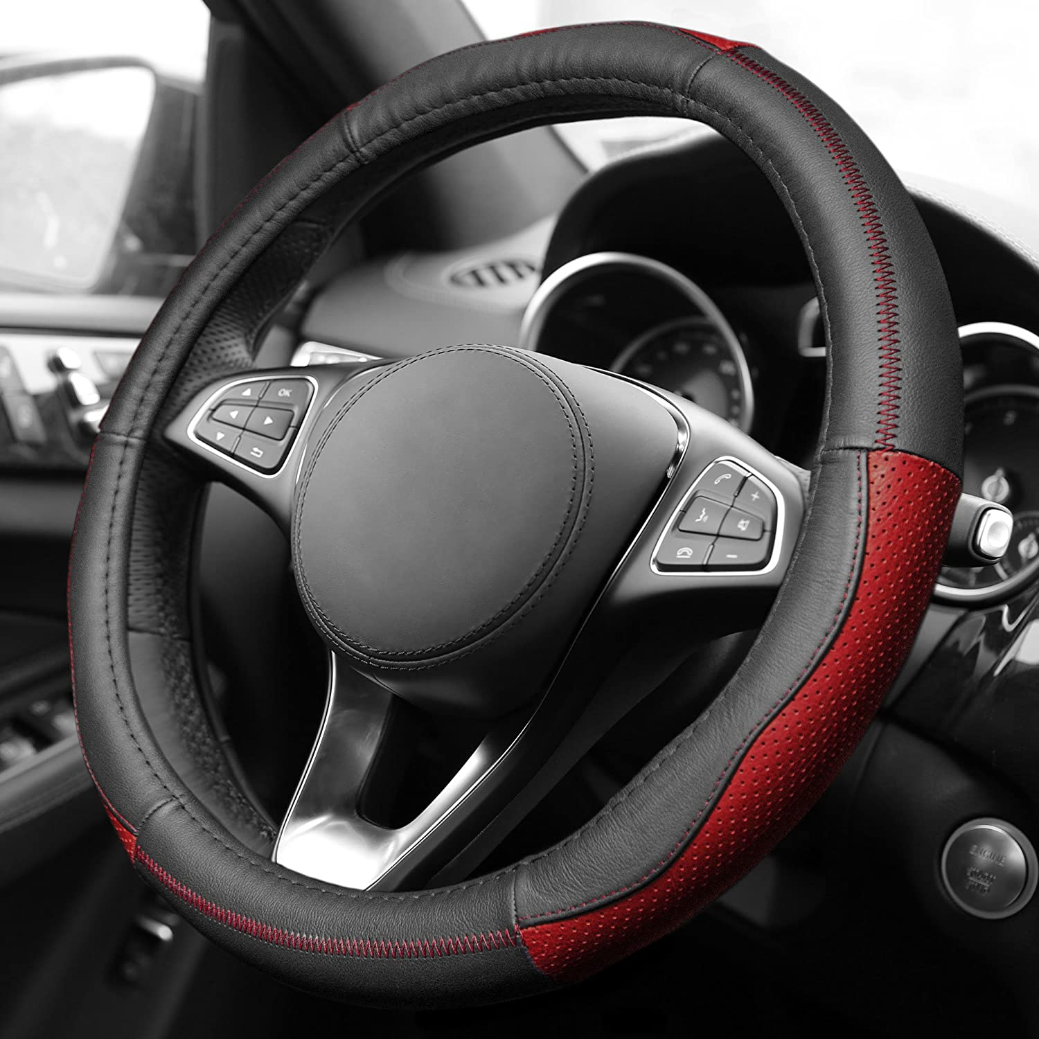 FH Group FH2007RED Sleek and Sporty Genuine Leather Steering Wheel Cover, 1 Pack