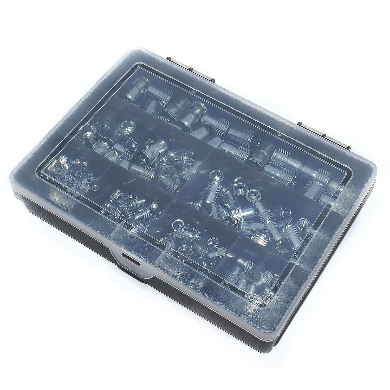 220 Assorted Piece Rivnuts Kit - Knurled Steel/Serrated / Reduced/Countersunk Head Falcon Workshop Supplies Ltd