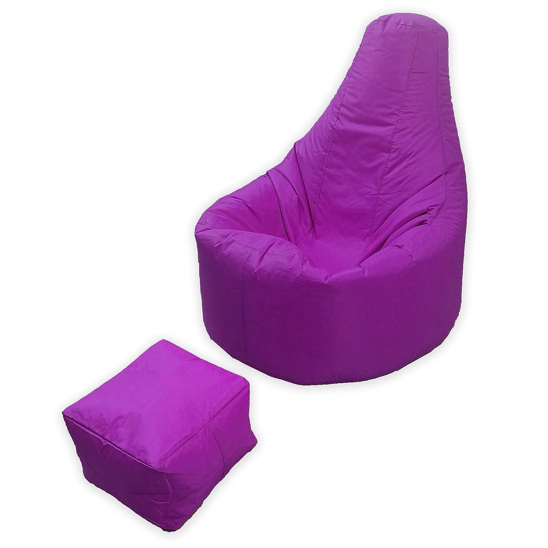 Puf grande para juegos, para interior y exterior (jardín, salón) o como silla de juegos con un reposapiés a juego en color púrpura, de gran calidad, de material resistente al agua.
