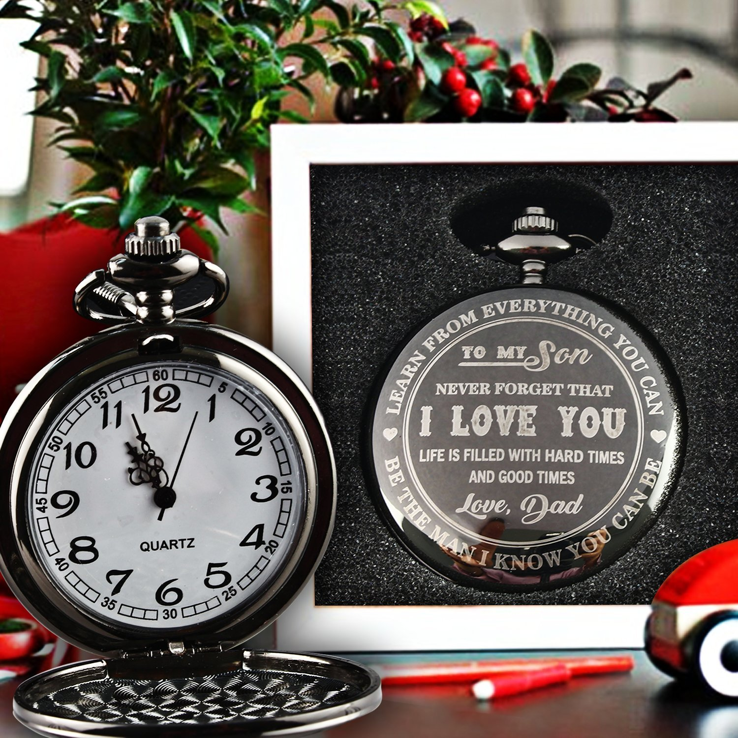 To My Son - Love Dad Pocket Watch with chain Birthday Gift Ideas To Son From Father - Black by GPlee Gift (Image #2)