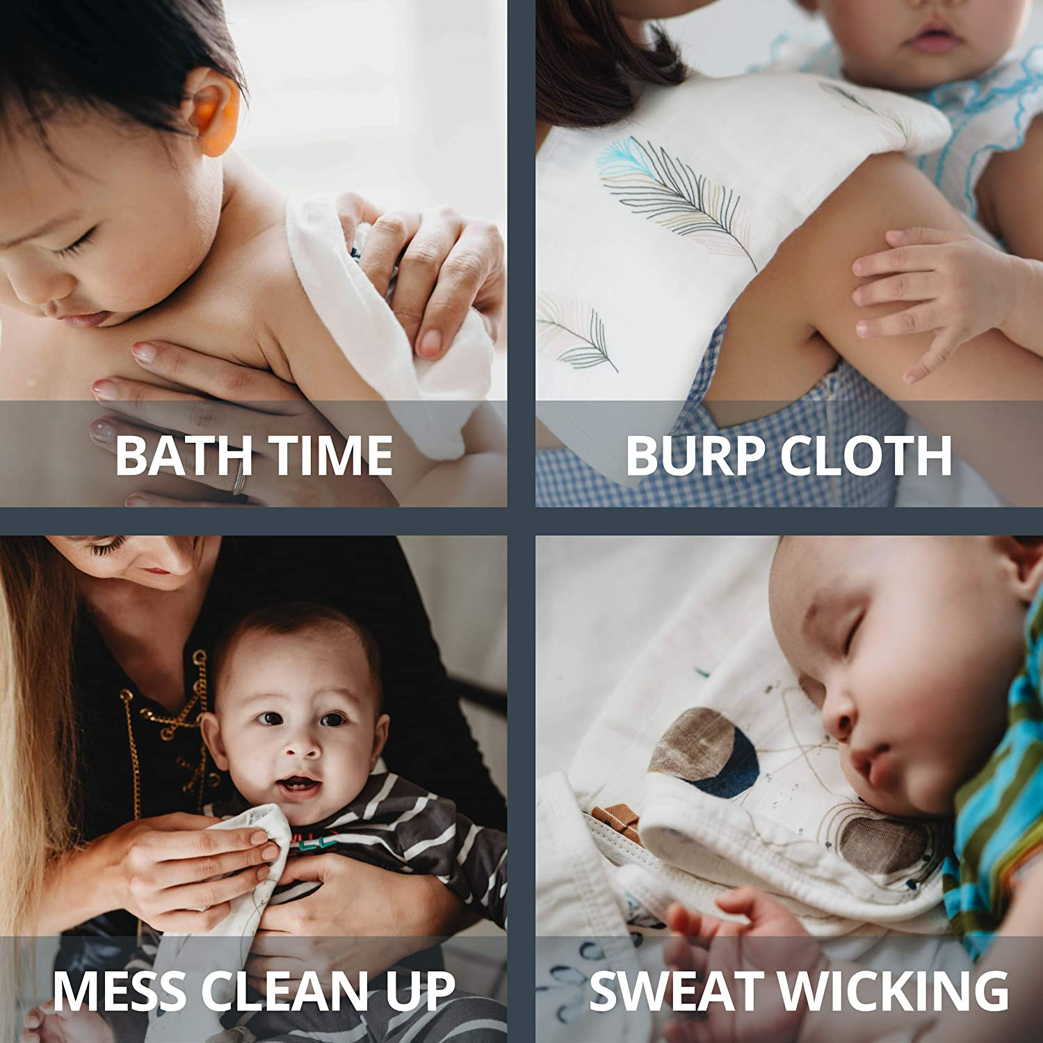 Versatile Baby Muslin Washcloths | The Safest Ultra-Soft