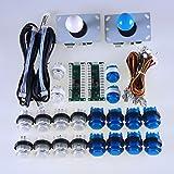 Easyget LED Arcade DIY Parts 2x Zero Delay USB Encoder + 2x 8 Way Joystick + 20x LED Illuminated Push Buttons for Mame Jamma Arcade Project White + Blue Sets