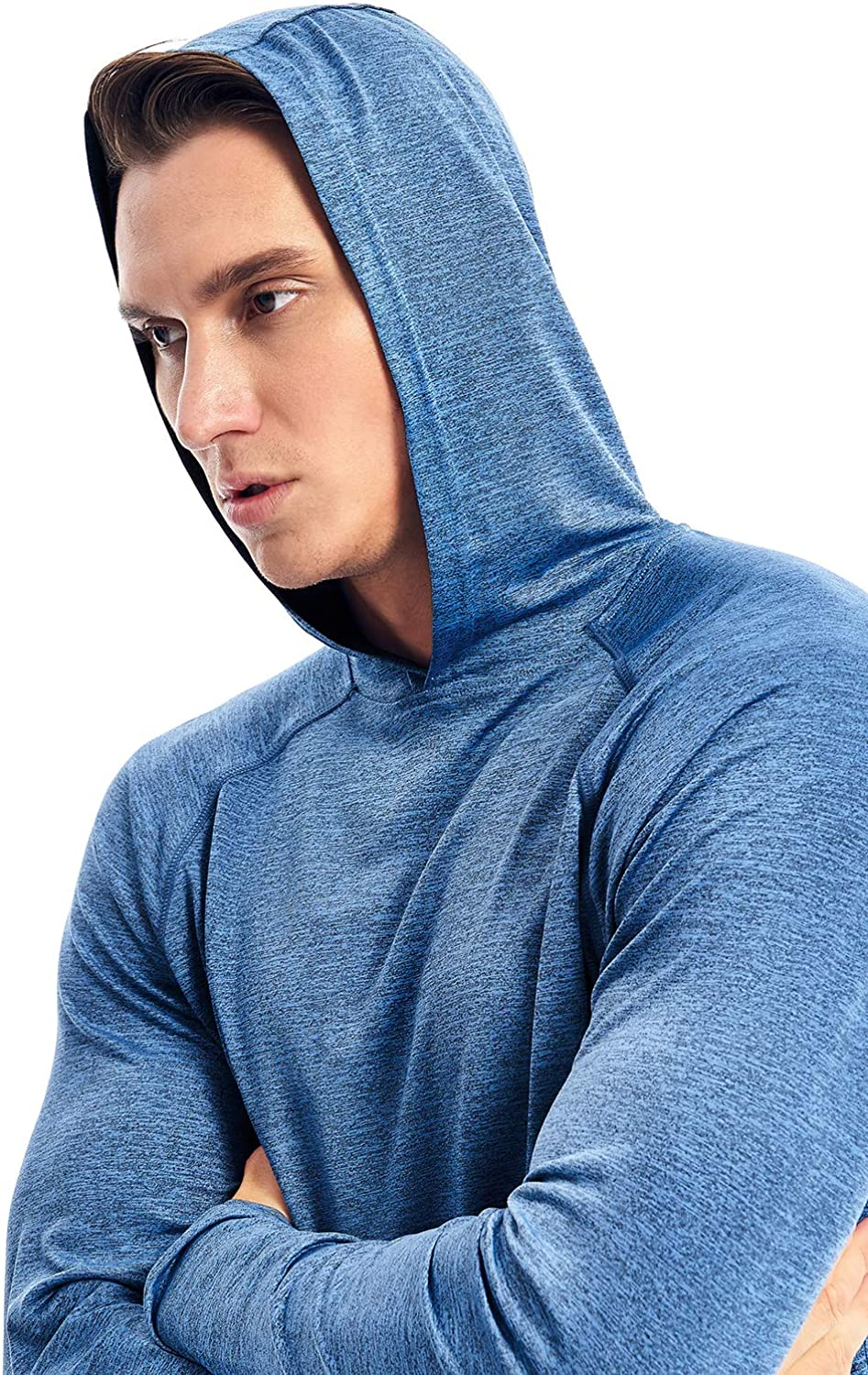 Mens Lightweight Pullover Hoodie Hooded Long Sleeve Workout Shirts Dry Fit