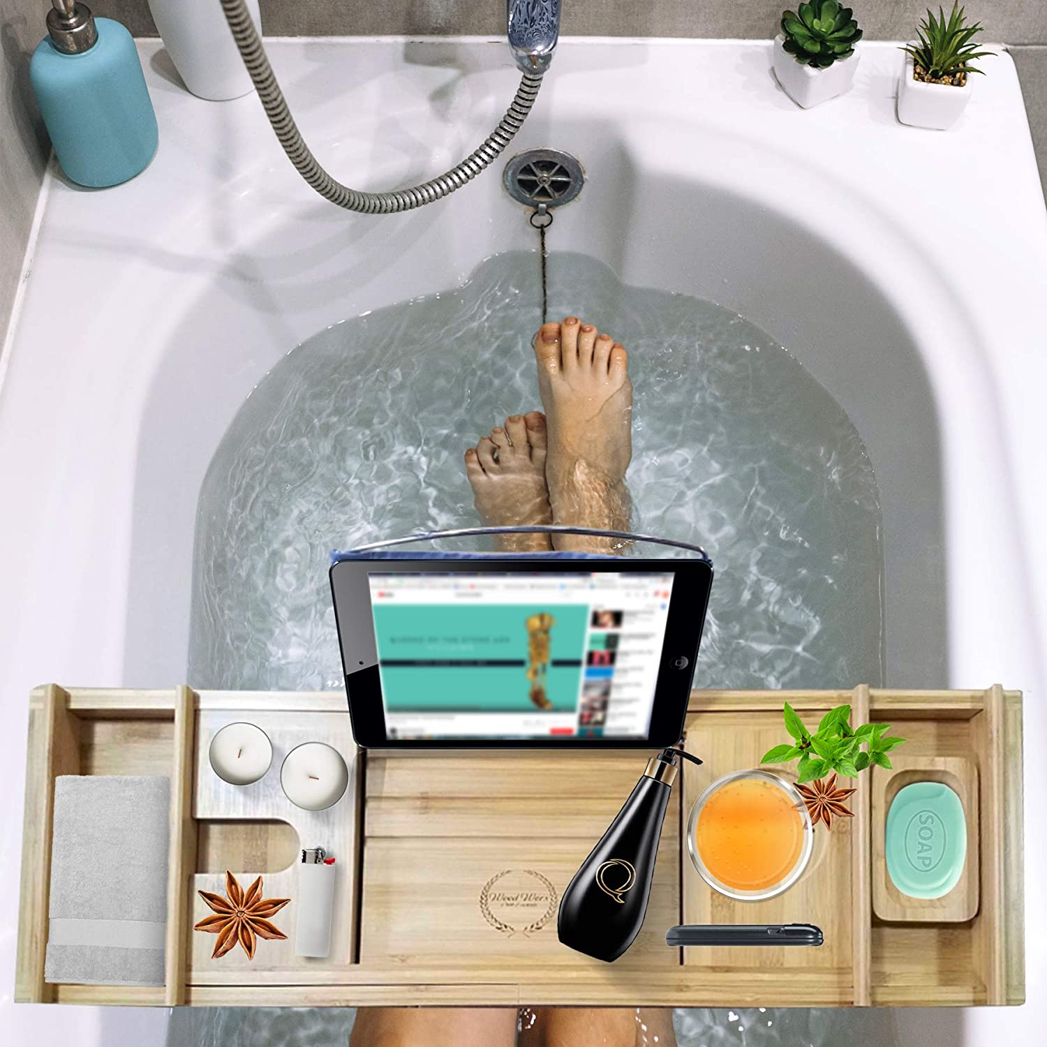 Amazon.com: Wood Worx Bath Essentials - Premium Bamboo Bathtub Caddy ...