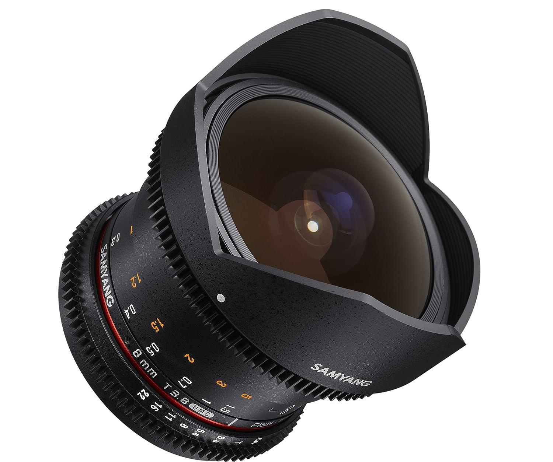 Objetivo para v/ídeo VDSLR para Olympus 4//3 Distancia Focal Fija 8mm, Apertura T3.8-22 UMC, Ojo de pez, CSII Negro Samyang F1322407101