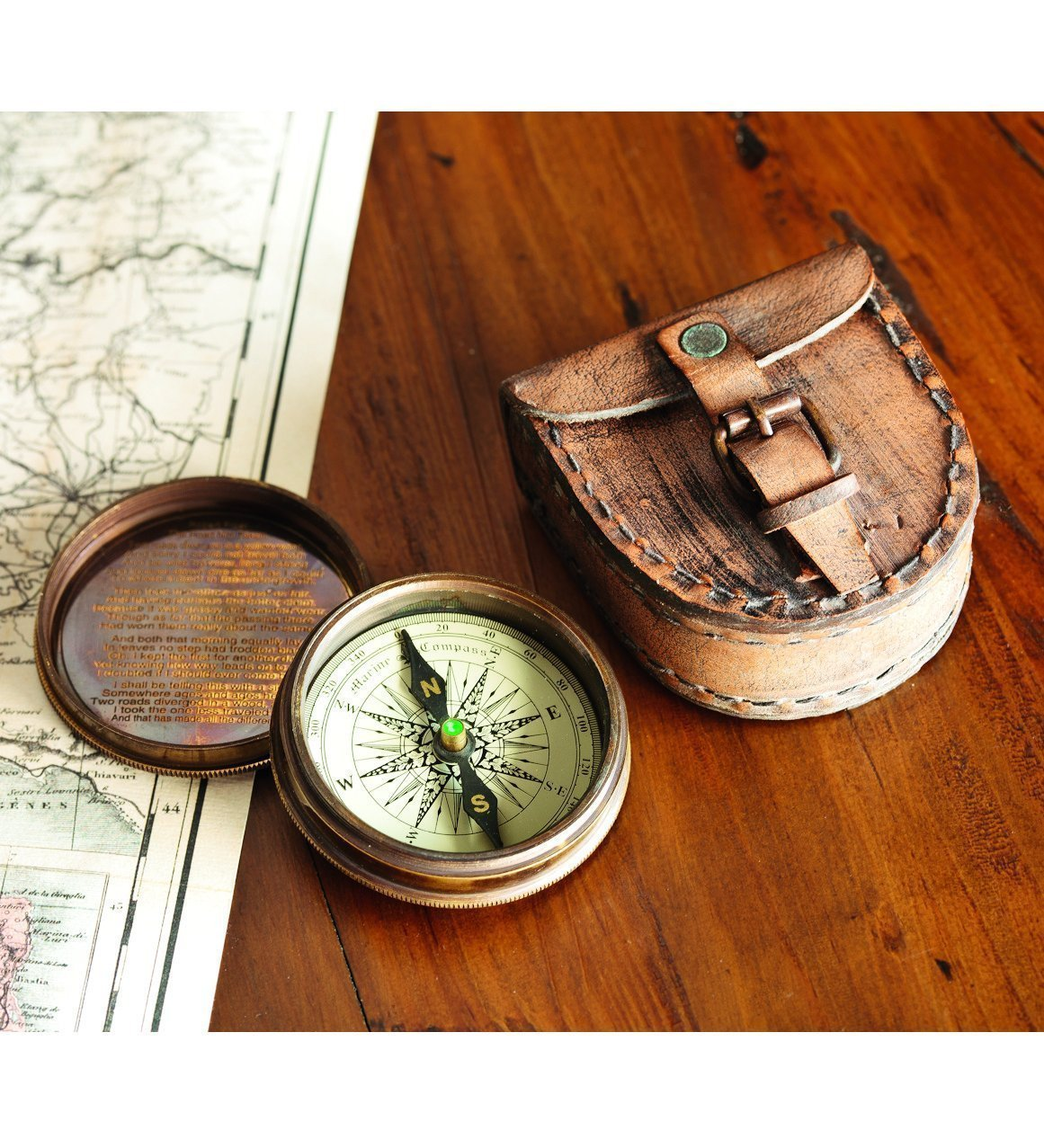 Brass Poem Compass With Leather Case