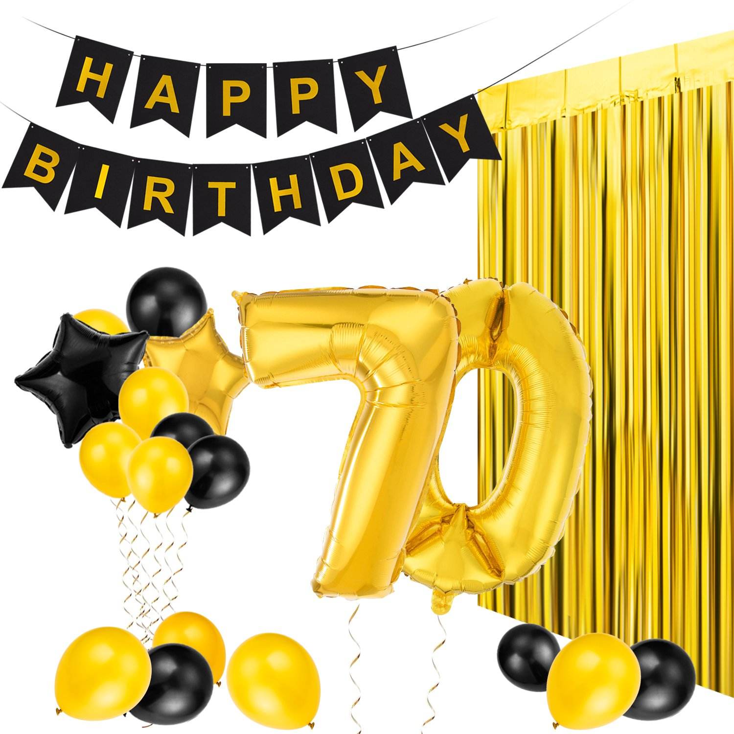 Amazon MeiHoyo 25th Birthday Decorations Happy Banner Party Kit Pack B Day Celebration Supplies With Gold And Black Stars Balloons Golden
