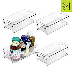 Smart Design Stackable Refrigerator Bin w/Handle - BPA Free Polyethylene - for Fridge, Freezer, Pantry Organization - Kitchen (6 x 12 Inch) [Clear] - Set of 4