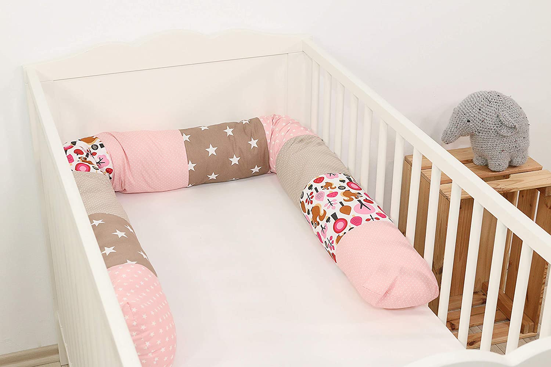 Baby Bettrolle 200x13 cm, ideal als Babybett Kantenschutz, Lagerungskissen, Motiv: Sterne Nestchenschlange Sand Eichh/örnchen ULLENBOOM /® Bettschlange
