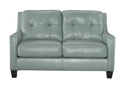 Ashley Furniture Signature Design - OKean Contemporary Leather Upholstered Tufted Back Loveseat - Sky