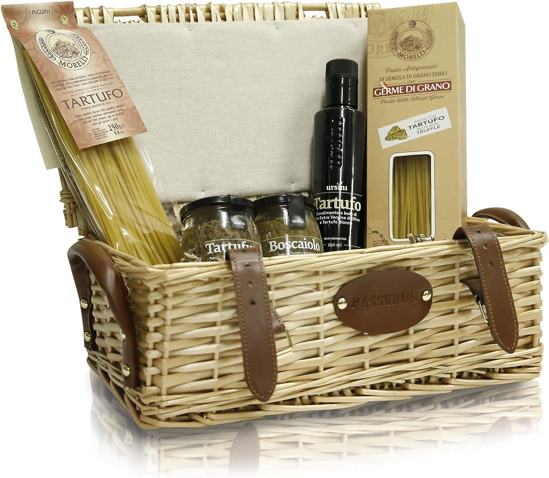 Pasticceria Passerini dal 1919 Christmas Hamper, Italian Gourmet Specialities in Vintage Wicker Basket: Mushrooms & Truffle-Flavoured Delicacies