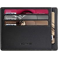 Porte Carte Homme Cuir, RFID Blocage Porte Carte de Credit Porte Feuille Noir (Noir)