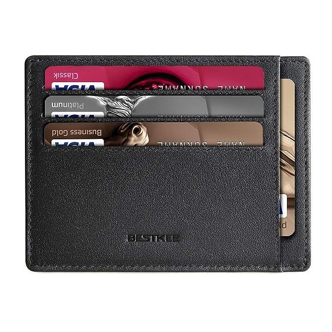 Cartera Pequeña de Cuero para Hombre - Tarjetero Billetera con RFID Minimalista (Negro): Amazon.es: Equipaje