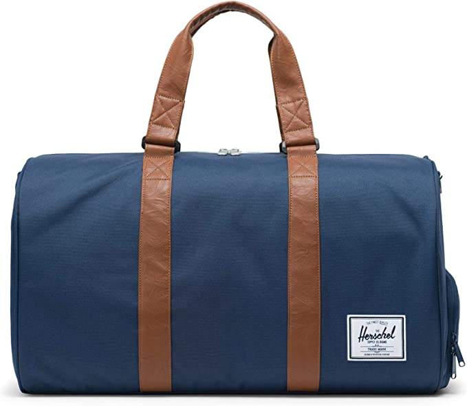 Herschel Novel Duffel Bag, Navy/Tan Synthetic Leather, Classic 42.5L