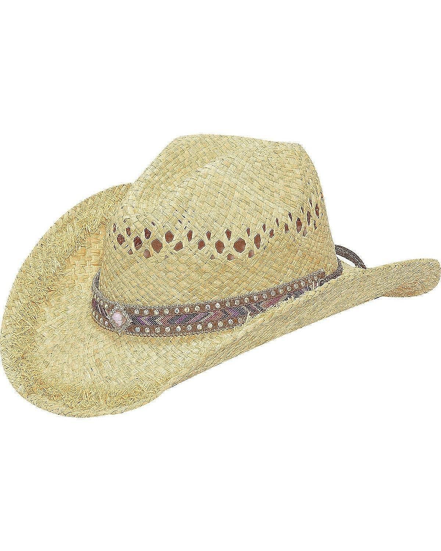 Blazin Roxx Womens Chevron Ribbon Inlay Raffia Hat