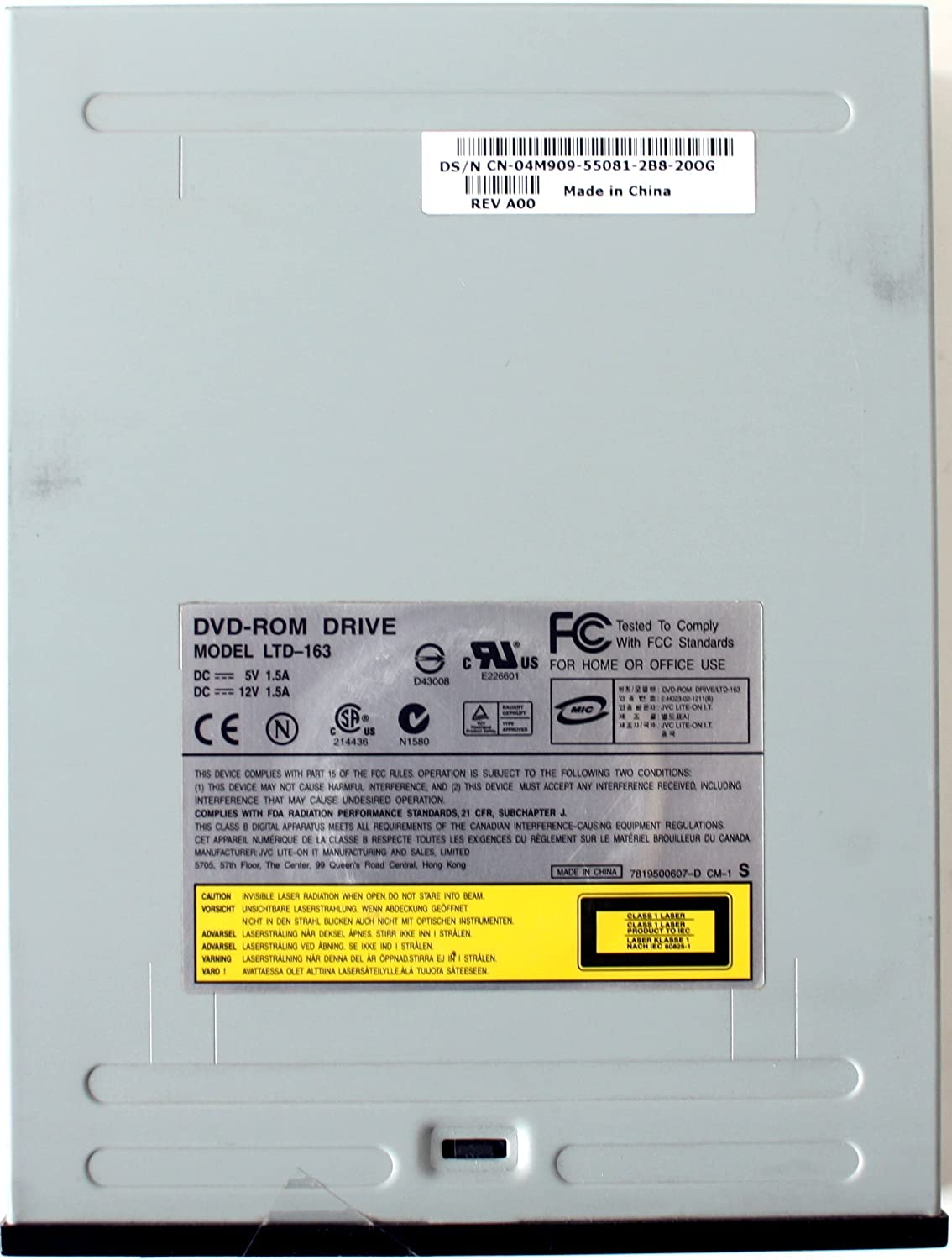 BLACK DVD-ROM DRIVE LTD-163 CN-08Y926-55081-34D-2015 REV A00