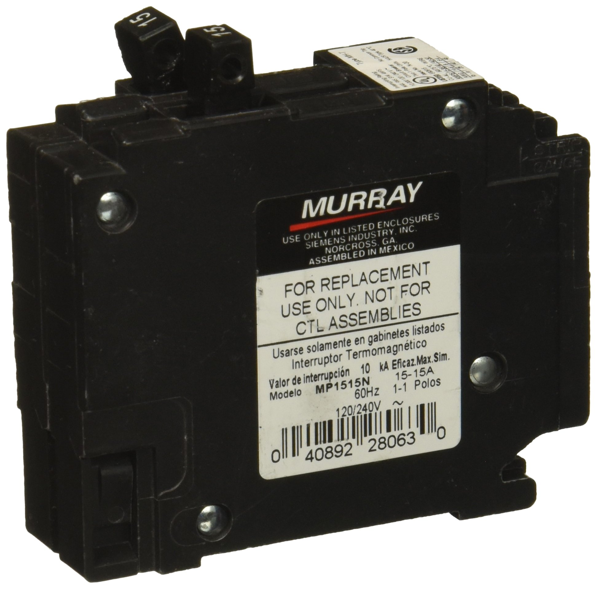 Murray MP1515 Two 15-Amp Single Pole 120-Volt Non-Current Limiting Circuit Breaker