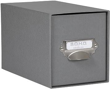 Rössler SOHO - Archivador para CD (compartimento metálico para etiqueta), color gris: Amazon.es: Oficina y papelería