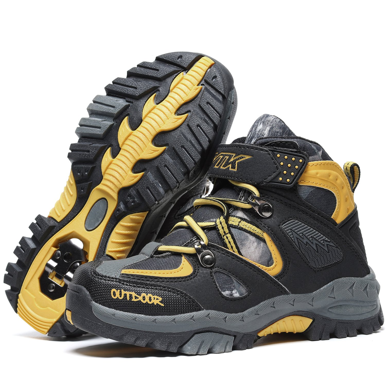 Kids Hiking Shoes Trekking Walking Snow Boots Antiskid Steel Buckle Sole Waterproof Winter Outdoor Climbing Cotton Sneaker.HS-8032-Y-37,5 M US Big Kid(Foot Length=23.5cm),Yellow by Littleplum (Image #5)