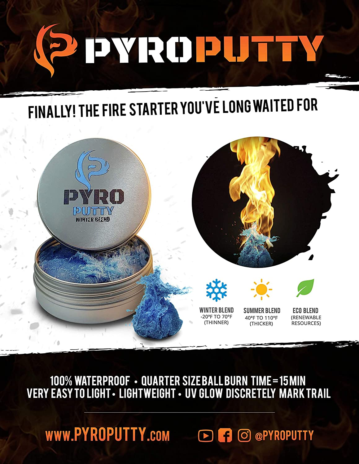 Pyro Putty Multi Season Set Pliable Fire Starter for Camping Hiking  Survival Emergency Water Proof Winter Summer Eco Environment Friendly