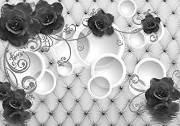 VLIES FOTOTAPETE Blumen Lilien Diamanten Polster Leder Tapete XXL Vliestapete