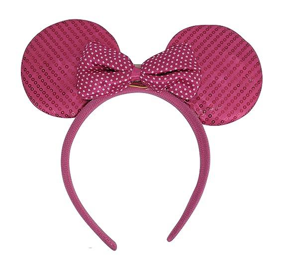 12 Pcs Mickey Minnie Mouse Ears Light Up Led Bow Headbands Costume