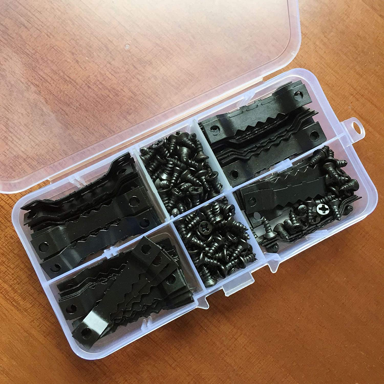 PPX Kit de 100 pcs Marco de Fotos Ganchos Durable para Colgar 200pcs Tornillos con Caja de Almacenamiento Color Negro 100pcs Piezas Colgantes Doble Agujero
