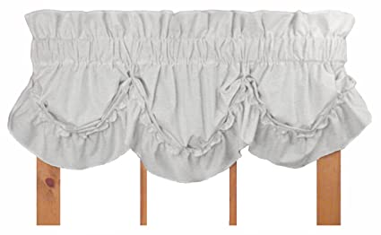 Window Toppers Stephanie Country Ruffle Queen Anne Valance Curtain - 1 1/2  Inch Rod Pocket, White
