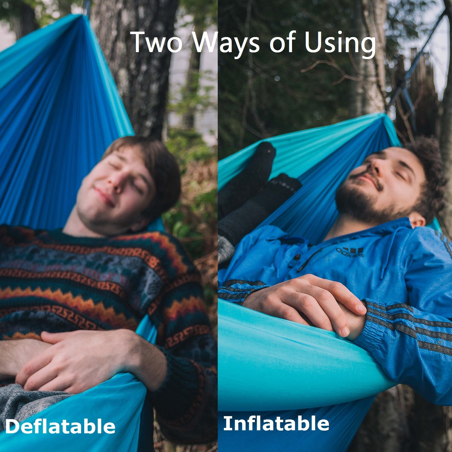 ALPRANG 2018 Upgrade Inflatable Hammock, Portable Foldable Nylon Hammock with Tree Hanging Straps- The Best Double Hammock for Camping, Hiking, Beach, Travel, Backpacking (Lake Blue) by ALPRANG (Image #3)