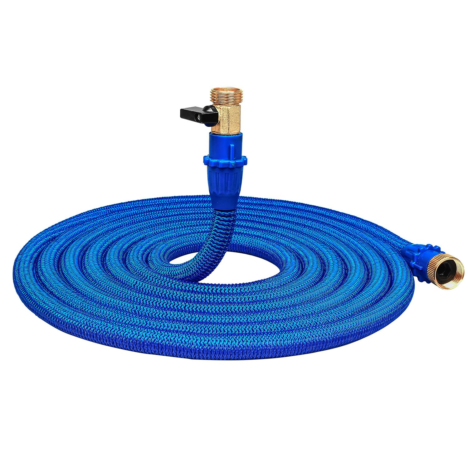 50FT Blue Expandable Garden Hose, Water Hose With Double Latex Core, 3/4 inch Solid Brass Connector and Extra Strength Fabric Flexible Spray Hose