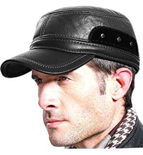 483b06445a6 Sumolux Winter Leather Cap with Earflap Military Cadet Army Flat Top Hat  Outdoor