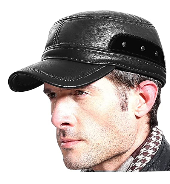 SUMOLUX Winter Leather Cap with Earflap Military Cadet Army style Hats Flat  Top Hat Adjustable for 2a505c30e4eb