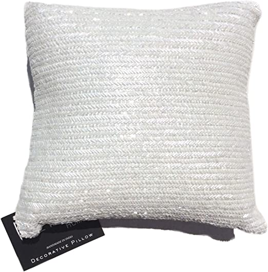 Amazon.com: Nicole Miller Chevron Beaded Decorative Toss Pillow