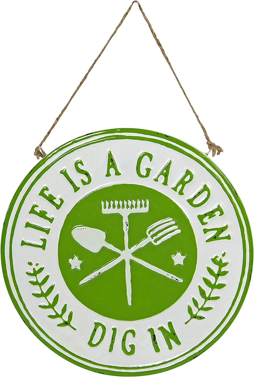 VIP Home & Garden SB1222 Round Metal Garden Sign with Rope Hanger Life is A Garden, Dig in Wall Mounted Plaque Wall Art, 12-inch Diameter