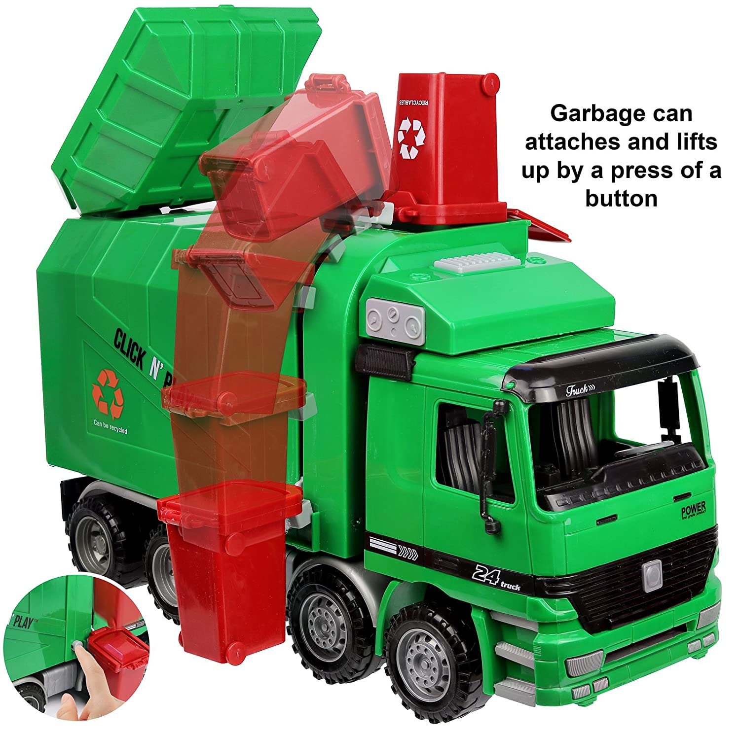 Get ready garbage truck coloring book - Amazon Com Click N Play Friction Powered Garbage Truck Toy With Garbage Cans Vehicle Toys Games
