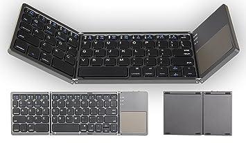 OLDING Bluetooth Teclado para Tablet Samsung Smartphone Portátil BT inalámbrico plegable Mini teclado con Touchpad para