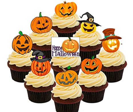 Calabaza. - Halloween comestible cupcake toppers - Pie oblea ...