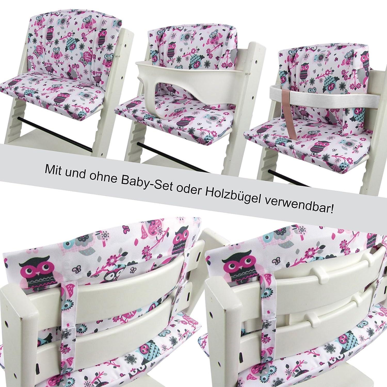 Babys-Dreams Sitzkissen Auflage Sitzkissenset f/ür Stokke Tripp Trapp Hochstuhl Dunkelblau Pink//Gr/üne Eulen$7