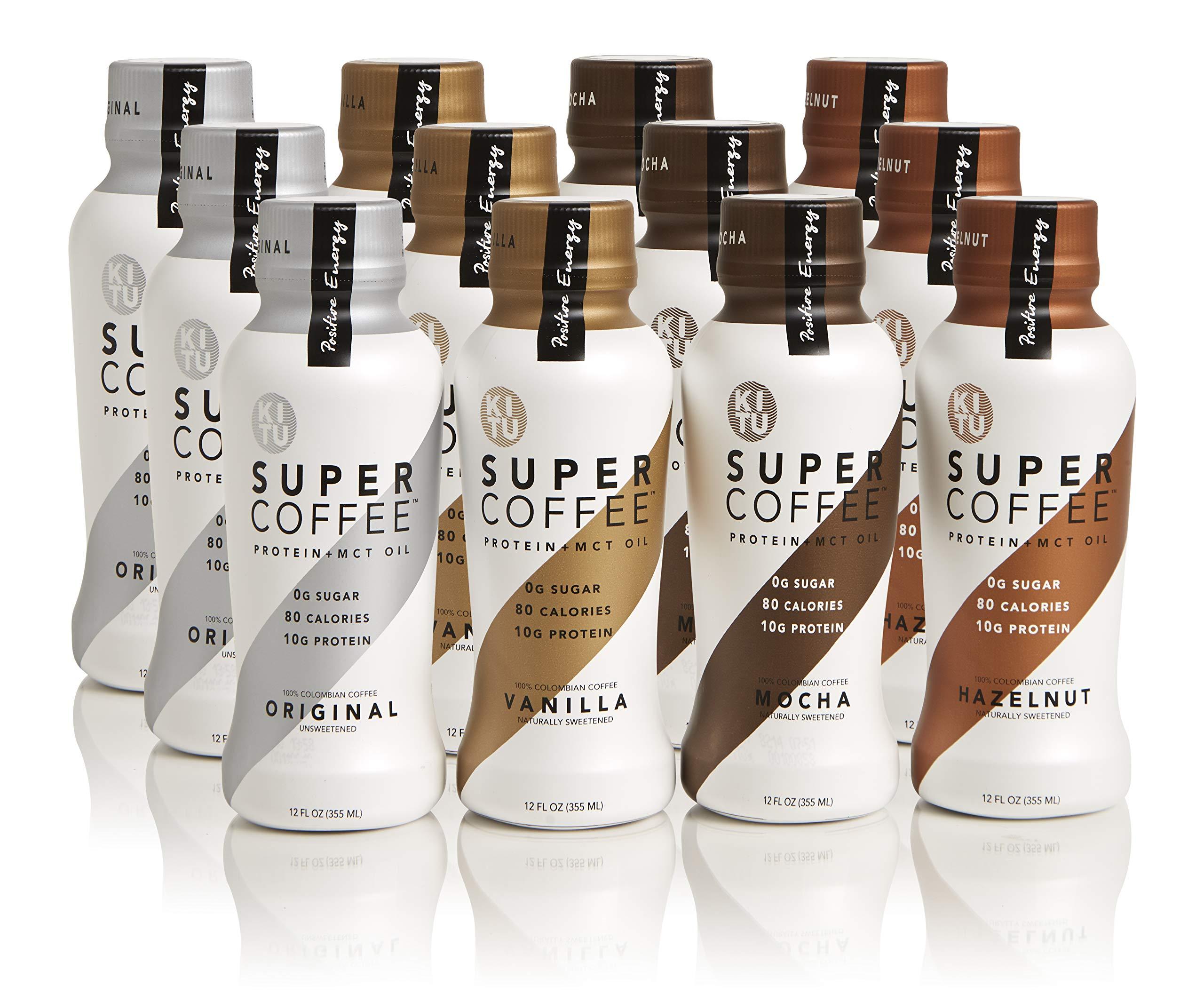 Kitu by Sunniva Super Coffee 12 Variety Pack Sugar-Free Formula, 10g Protein, Lactose Free, Soy Free, Gluten Free (3 each of Vanilla Bean, Mocha, Hazelnut, and Creamy Black)