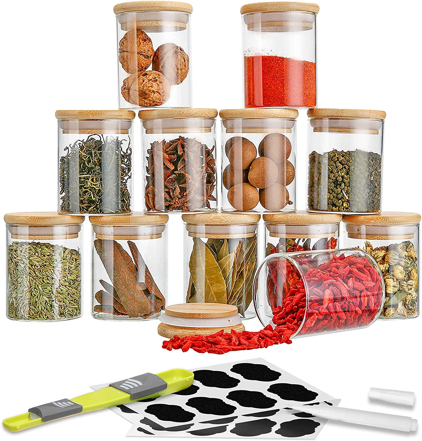 SAWAKE Glass Canisters Set for Kitchen Counter 6.7oz, 12 Piece Clear Glass Food Storage Jars with Airtight Bamboo Lids for Spice, Tea, Herbs, Candy, Nuts - include Measuring Spoon, Labels & Marker