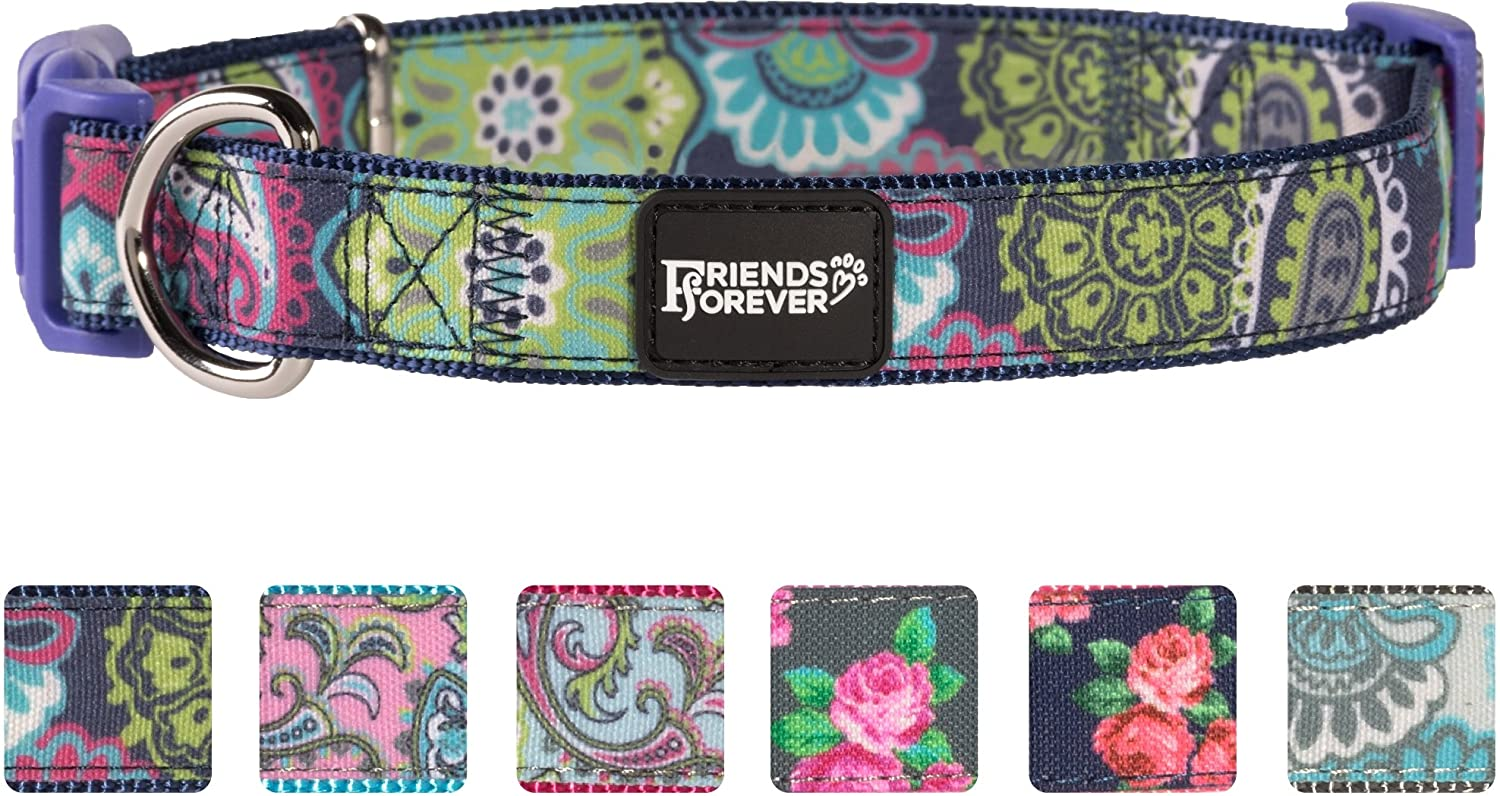 Paisley Navy Large 18-26\ Paisley Navy Large 18-26\ Friends Forever Dog Collar for Dogs, Fashion Print Paisley Pattern Cute Puppy Collar, Navy Large 18-26