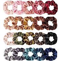 Whaline Hair Scrunchies Velvet Hair Bobble Elastics Hair Bands Soft Hair Ties for Women and Girls 20 Colors