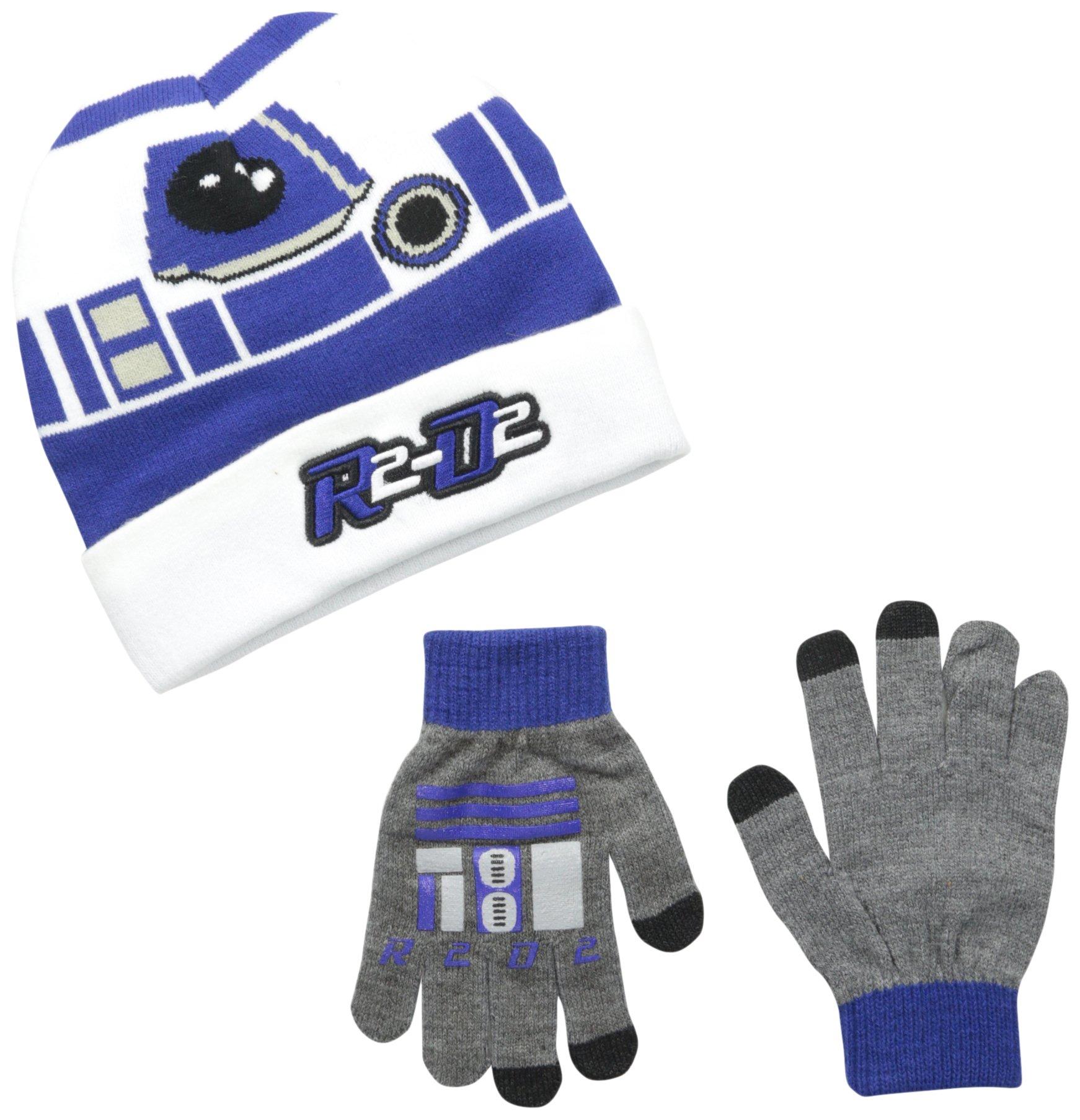 Star Wars Little Boys' R2D2 Cuffed Beanie and Glove Set, White, One Size