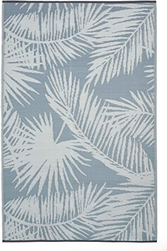 FH Home Indoor Outdoor Recycled Plastic Floor Mat Rug-Reversible-Weather UV Resistant – Palm Beach – Sterling Blue 6 ft x 9 ft