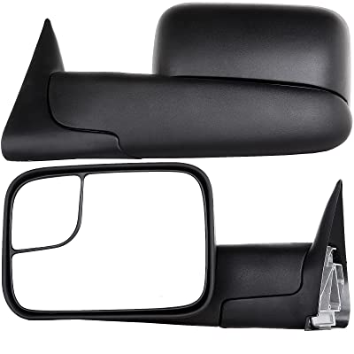 OCPTY Left Right Pair Tow Mirror Towing Mirrors for 1994-2001 Dodge Ram 1500 1994-2002 Dodge Ram 2500 1994-2002 Dodge Ram 3500 Manual Adjusted with Black housing: Automotive