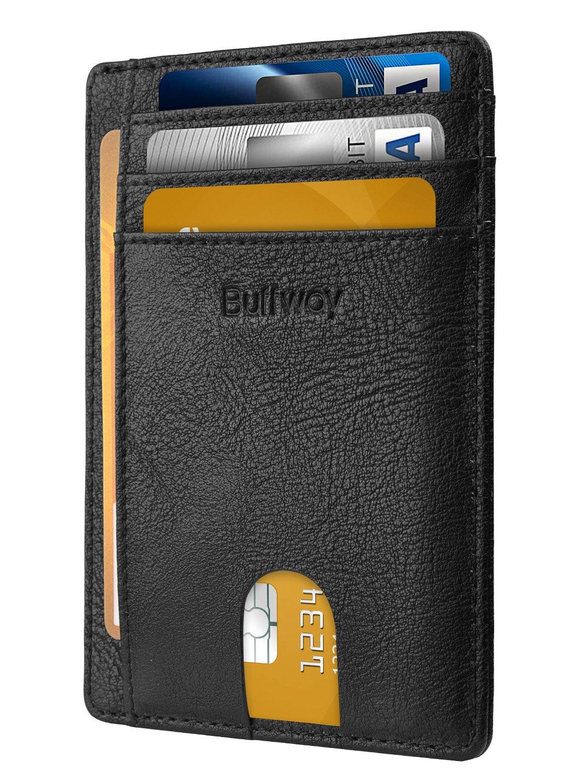 Slim Minimalist Leather Wallets for Men & Women - Bassa Black by Buffway