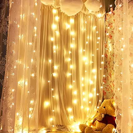 Amazon.com: Curtain Lights, M-Better Holiday Light 600 LED Linkable ...